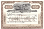 The Anaconda Company Framed Stock Certificate