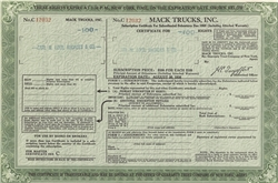 Mack Trucks Inc. Stock Certificate