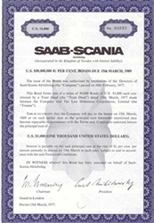 Saab-Scania Swedish Bond Certificate