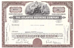 The Atlantic Refining Company Stock Certificate - Brown