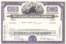 The Atlantic Refining Company Stock Certificate - Purple