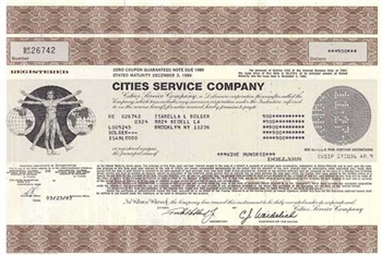 Cities Service Company Bond Certificate