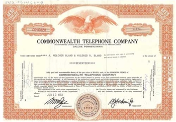 Commonwealth Telephone Company Stock Certificate