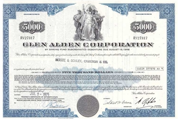 Glen Alden Corporation $5000 Bond