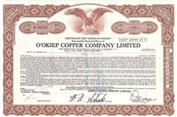 O'Okiep Copper Company Limited Stock Certificate