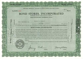 Bond Stores, Inc Preferred Stock