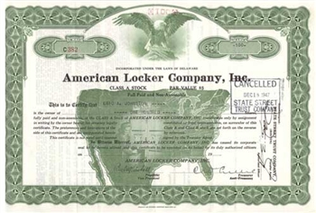 American Locker Company, Inc. Stock Certificate - Green