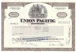 Union Pacific Corp. Stock Certificate - Brown