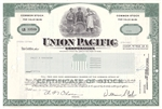 Union Pacific Corp. Stock Certificate - Green