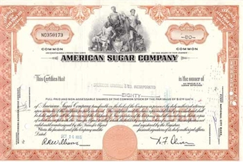 American Sugar Company Stock Certificate - Orange