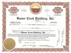 Beaver Creek Distillery, Inc. Stock Certificate