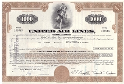United Airlines Bond Certificate - Brown