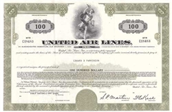 United Air Lines $100 Bond Certificate