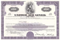 United Air Lines $1000 Bond Certificate