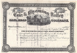 Erie & Wyoming Valley Railroad Company Stock Certificate