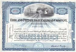 Erie and Pittsburgh Railroad Company Stock Certificate - Blue