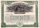 The Denver & Salt Lake Railway Tunnel Stock Certificate