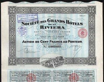 1930 France: Societe des Grands Hotels de la Riviera - French Hotel