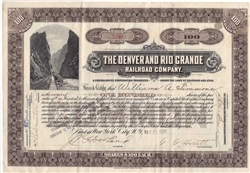 The Denver and Rio Grande Railroad Company Stock Certificate