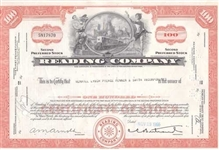 Reading Company Railroad Stock Certificate Orange