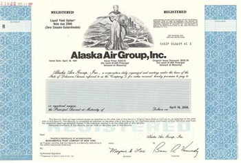 Alaska Air Group, Inc. Bond Certificate - Specimen