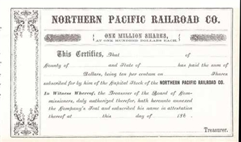 1860s Northern Pacific Railroad Co.