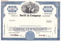 Swift & Company Specimen Stock Certificate - Blue