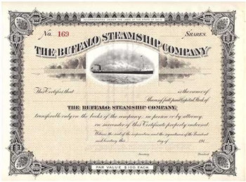 The Buffalo Steamship Company Stock Certificate