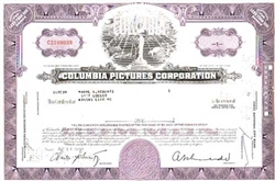 Columbia Pictures Corp. Stock Certificate - Purple