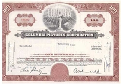 Columbia Pictures Corp. Stock Certificate - Maroon