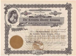 The Columbia Theatre Company Stock Certificate