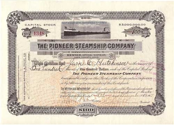 1917 The Pioneer Steamship Company Stock Certificate