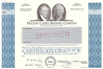Molson Coors Brewing Co. Specimen Stock Certificate