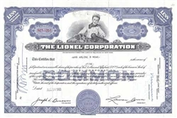 The Lionel Corporation Stock Certificate - Purple