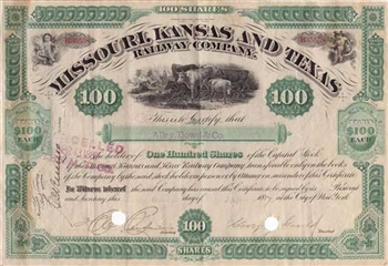 1887 Missouri Kansas and Texas Railway Company Stock Certificate