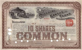 1904 Missouri Kansas and Texas Railway Co. Stock Certificate