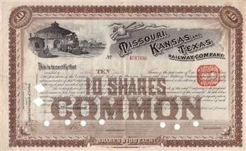 1906 Missouri Kansas and Texas Railway Company Stock Certificate