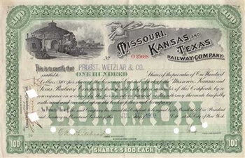 1909 Missouri Kansas and Texas Railway Company Stock Certificate