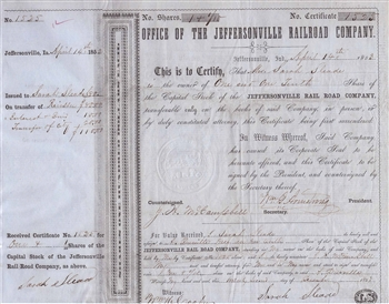 1853 The Jeffersonville Railroad Company Stock Certificate