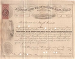 1867 Boston and Providence Railroad Stock Certificate