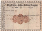1800s The Philadelphia & Reading Railroad Company  Stock Certificate