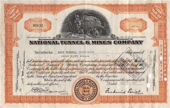 1937 National Tunnel & Mines Company Stock Certificate