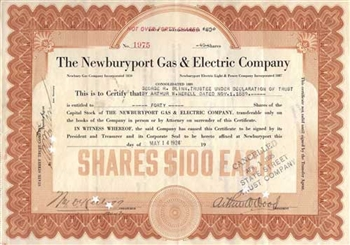 1924 Newburyport Gas & Electric Company Stock Certificate