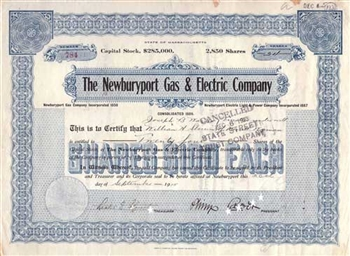 1915 Newburyport Gas & Electric Company Stock Certificate