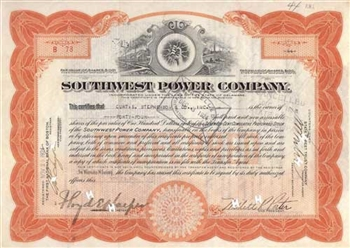 1924 Southwest Power Company Stock Certificate