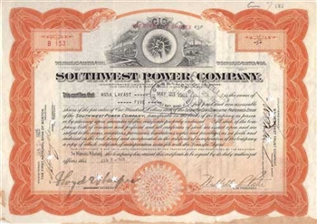 1925 Southwest Power Company Stock Certificate