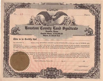 1920s Houston County Land Syndicate Stock Certificate