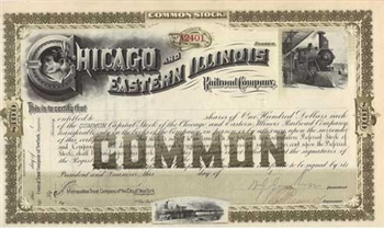 1800s Chicago and Eastern Illinois Stock Certificate