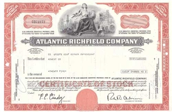 Atlantic Richfield Company Stock Certificate - Red
