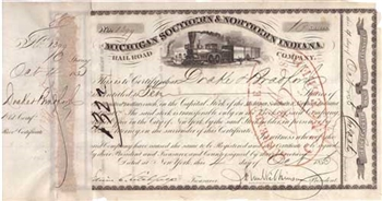 1850 Michigan Southern & Northern Indiana Railroad Company Stock Certificate